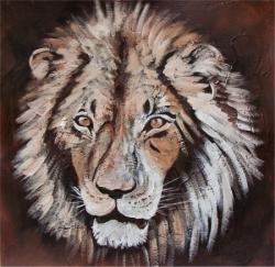 Lion - Acrylique sur papier - 40x40