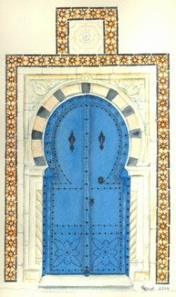 Porte de Sidi-Bou-Saïd - Aquarelle - 19x30