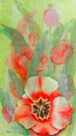 Tulipes - Techniques mixtes - 28x48