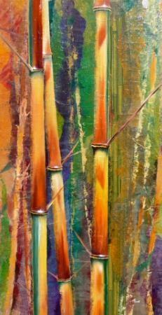 Bambous dorés - Technique mixte - 73x38