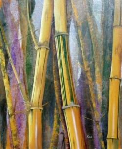 Bambous bicolores - Technique mixte - 60x50