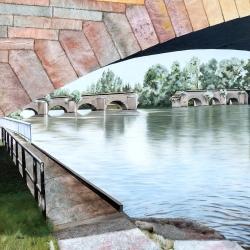 Les deux ponts - Technique mixte - 50x50