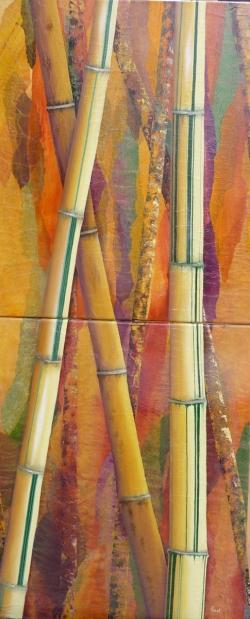Bambous rayés - Technique mixte - 110x47
