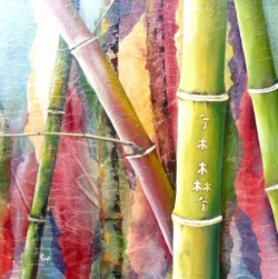 Bambous gravés - Technique mixte - 50x50