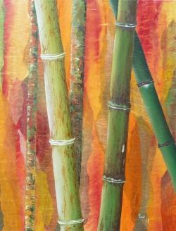 Bambou léopard - Technique mixte - 73x54