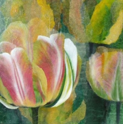 Tulipes - technique mixte - 50 x 50