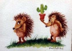 M. hérisson offrant un cactus à Mme hérisson