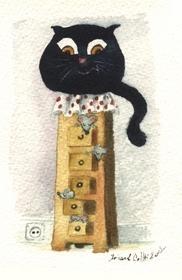 Chat noir et les souris dans les tiroirs