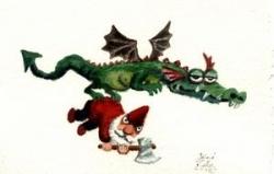 Dragon qui a piqué un nain de jardin