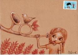 fille qui écoute le chant des arbres et des oiseau