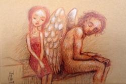 Jeune fille assise au pays des anges