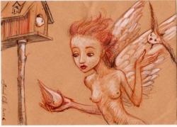 l'ange et les oiseaux