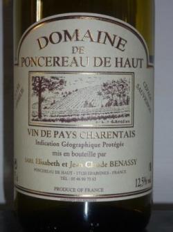 Domaine de Poncereau de Haut VDP charentais