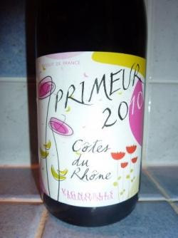 Côtes du rhône primeur 2010 coopérative de Beaumes