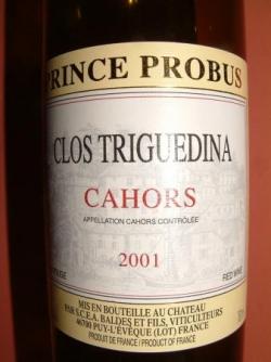 CAHORS PRINCE PROBUS 2001 DE CLOS TRIGUEDINA