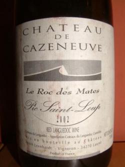 LE ROC DES MATES 2002 DU CHATEAU DE CAZENEUVE