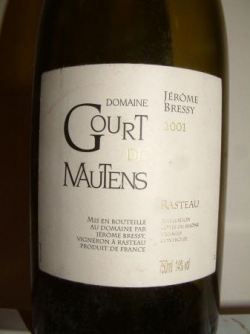 RASTEAU GOURT DE MAUTENS 2001 DE JEROME BRESSY