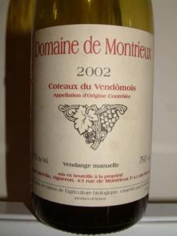 COTEAUX VENDOMOIS DOMAINE DE MONTRIEUX 2002