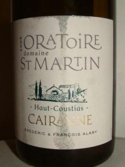 HAUT COUSTIAS BLANC 2006 DE L'ORATOIRE ST MARTIN