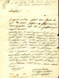 Lettre de Charette sur la mort de Stofflet.