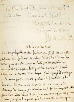 Lettre sur la mort du pape.