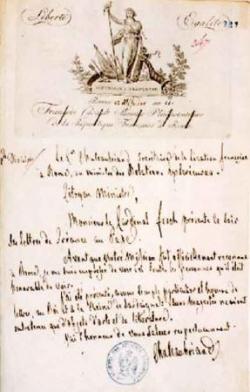 Lettre de 1803.