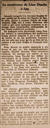 20 août 1927 : la conférence en exil, à Spa...