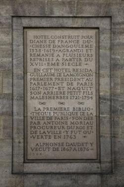 Hotel de Lamoignon, plaque commémorative