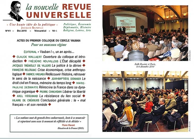 La Nouvelle Revue Universelle publie les Actes du colloque « Pour un nouveau régime »   dans presse 1054739706