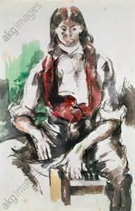 Cezanne jeune homme au gilet rouge