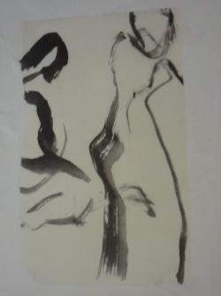 encollage sur papier chinois blanc