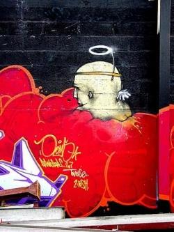 mur rouge - ex usine Job - 2003