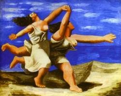 Femmes courant sur la plage de Picasso