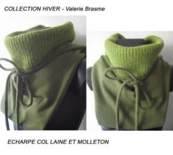 echarpe verte laine et coton