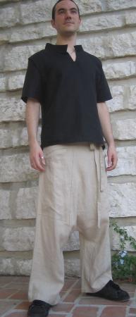 sarouel en lin beige, lacé a la taille style panta