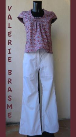 haut smocké , pantalon Cheri