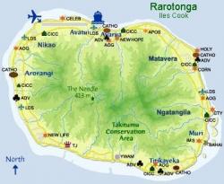 Carte des églises de Rarotonga