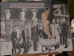 Un cours de peinture au début du XXe siècle