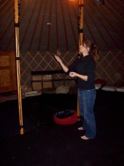 entraînement au jonglage entre deux spectacles...