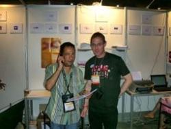 Avec Joël Vermont au Congrès sida à Toronto en 200